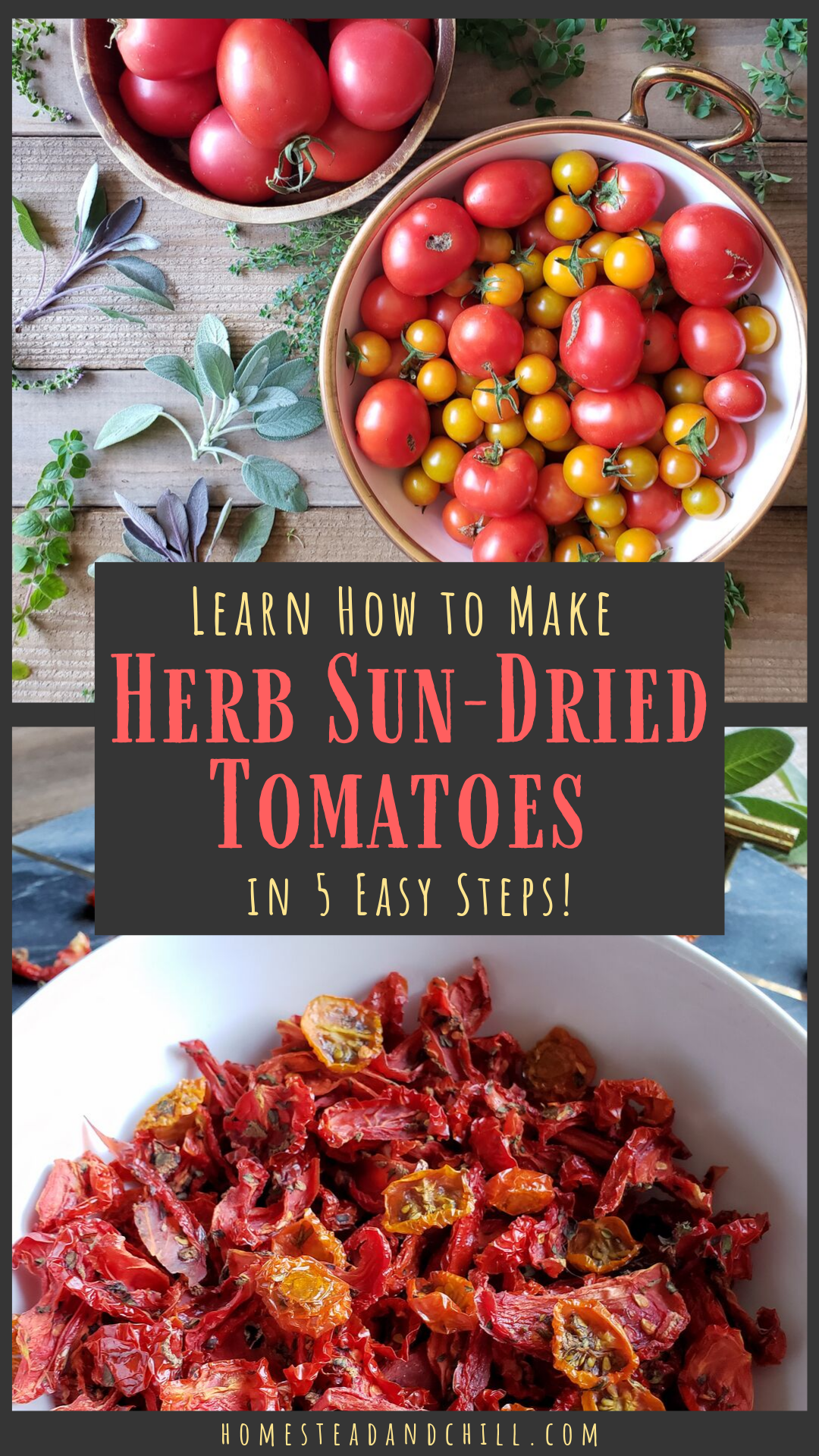 Preserving Tomatoes How To Make Herb Sun Dried Tomatoes In 5 Easy Steps Homestead And Chill Recipe Sun Dried Tomato Dried Tomatoes Oven Dried Tomatoes