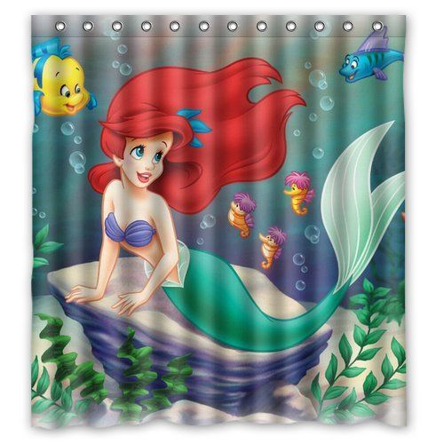 The Little Mermaid Ariel Silhouette Watercolor Shower Curtain By