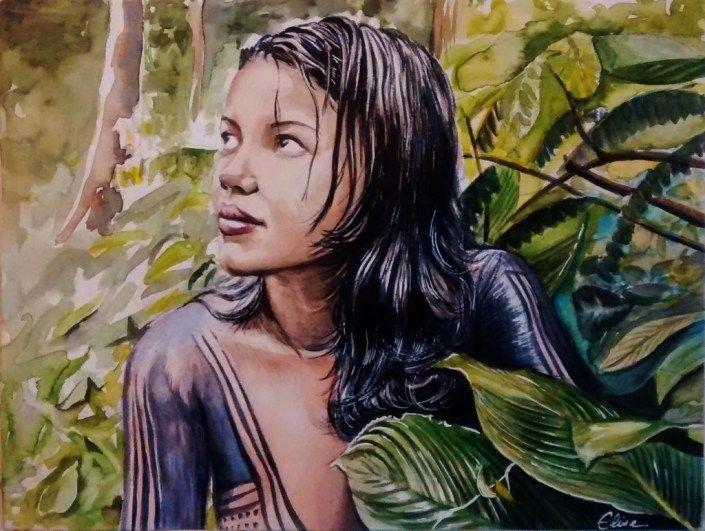 Portrait Dessin D Une Jeune Fille De Tribu Amazonienne En 2020