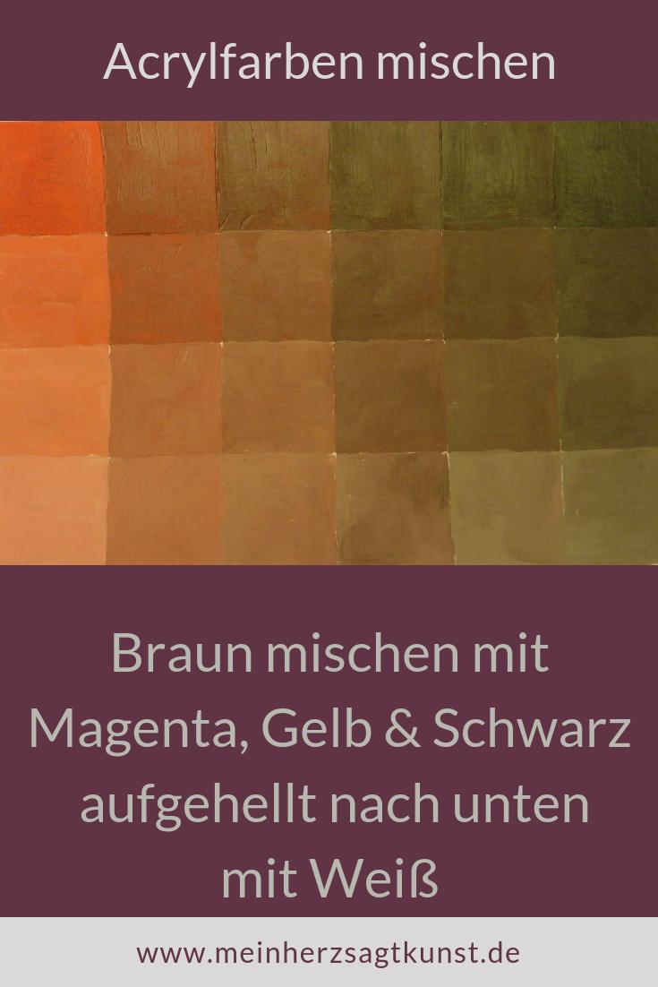 Braun Mischen Mit Den Grundfarben Malen Acrylfarben Mischen