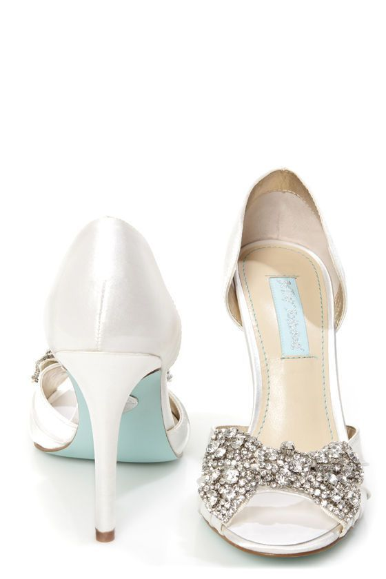 Betsey Johnson SB Gown Ivory Satin Rhinestone Bow Peep Toe Heels Wedding ShoesSilver