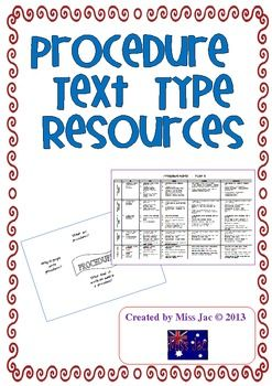 This 6 page product contains resources to be used with a Procedure genre/text type unit.