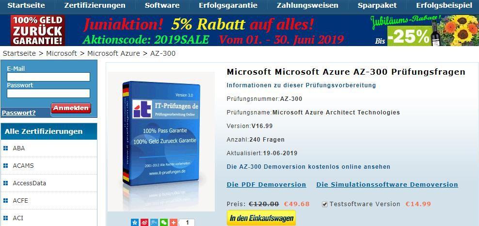 Unsere Prüfungsunterlagen zu Microsoft Microsoft Azure AZ