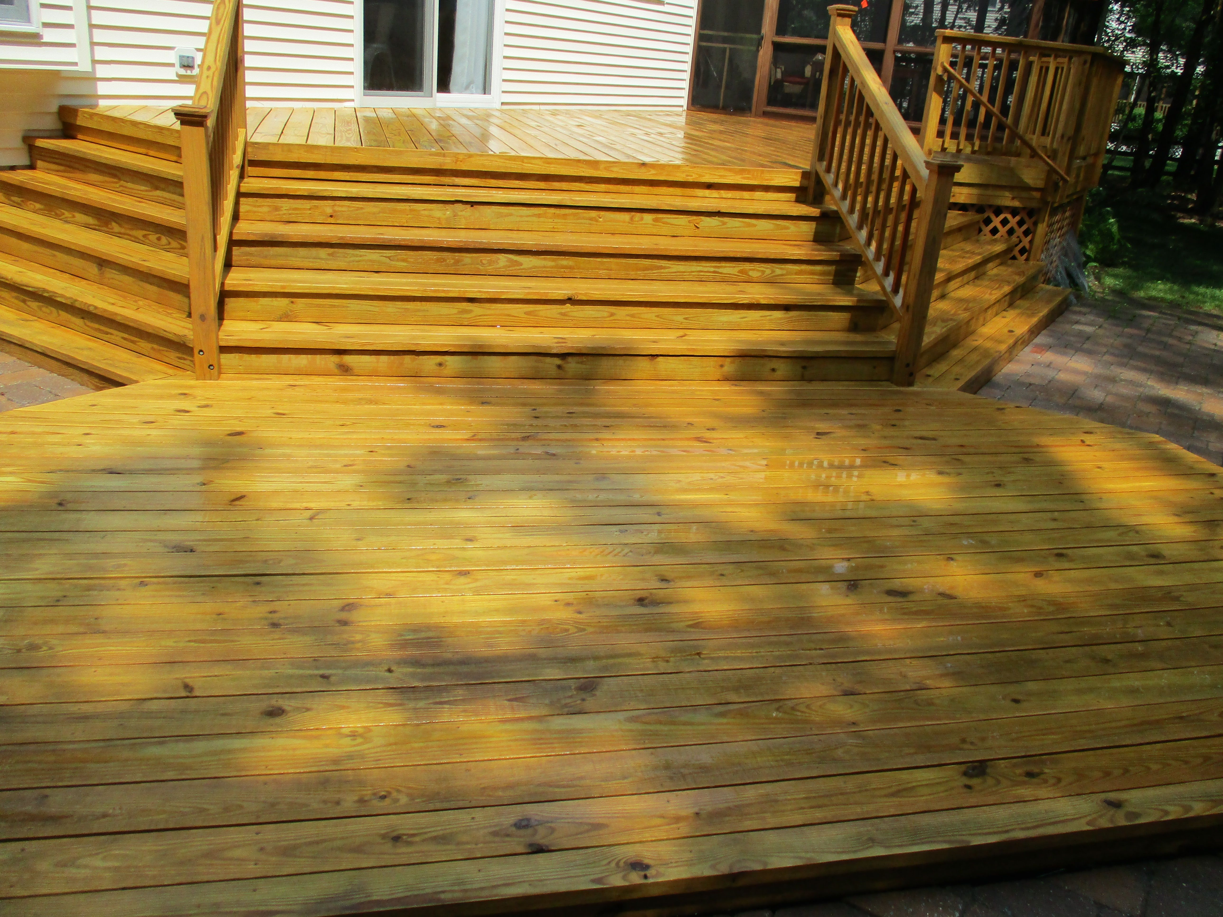 This A Repeat Customer Of Ours Who Used Our Deck Restoration Plus Deck Wood Stain In Burlington Gold Whic Deck Restoration Staining Wood Wood Deck