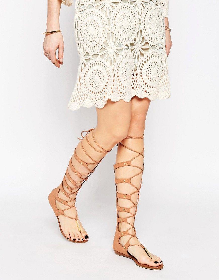 29fbd28051d ALDO+Marianne+Nude+Ghillie+Knee+High+Gladiator+Flat+Sandals