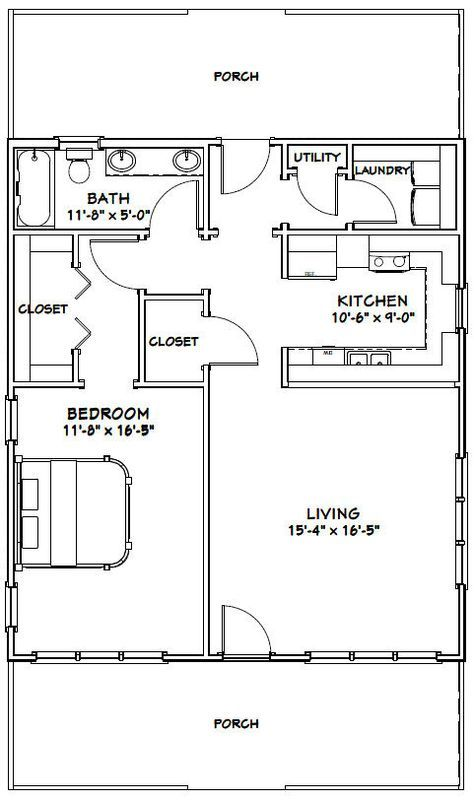 28x32 House 28X32H1 895 sq ft Excellent Floor Plans – 28X32 Garage Plans