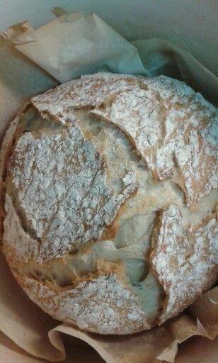 Pan de trigo, sin amasado,  en olla de hierro y horno