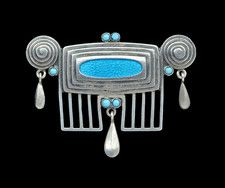 ANDREAS ODENWALD Jugendstil Brooch Silver Enamel W  3.80 cm (1.50 in)  |  D  2.00 cm (0.79 in) Origin	German, c. 1905 Marks	AO monogram 900 & GESCHUTZ Case	Fitted Case Tadema Gallery