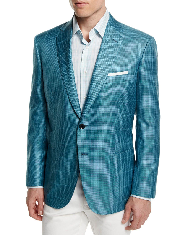 6dfb3070 Check Two-Button Wool Jacket Aqua/Green | *Outerwear > Coats ...