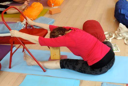 janu sirsasana variation to help elongate the spine