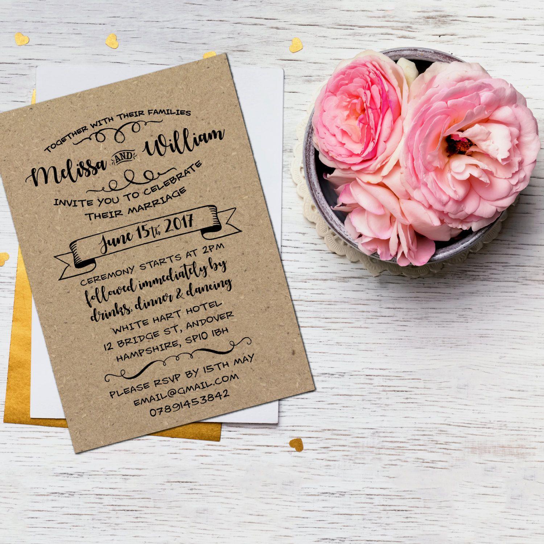 Recycled Vintage Wedding Invite, Rustic Wedding Invitations UK ...