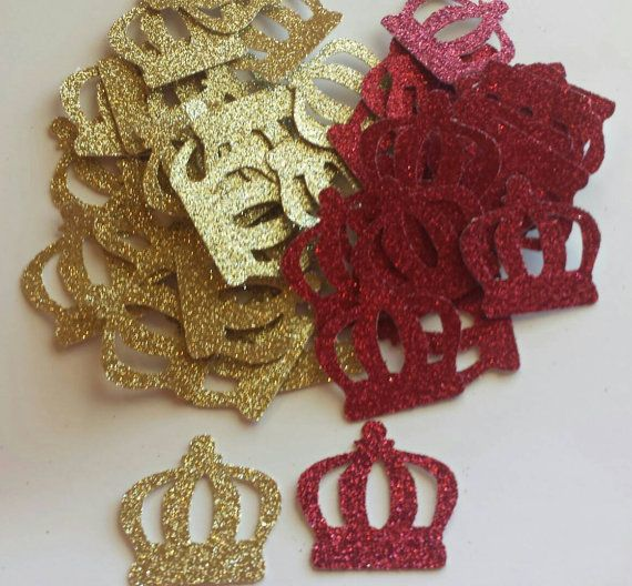 Royal Little Prince Crown Confetti Red Gold Royal Blue And Purple With Gold  Also Available Table Decor Or Invitation Scatter