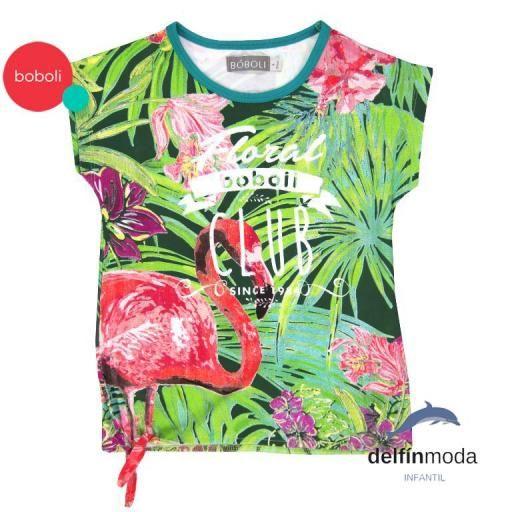 "Camiseta de niña manga corta BOBOLI estampada ""flamenco"""