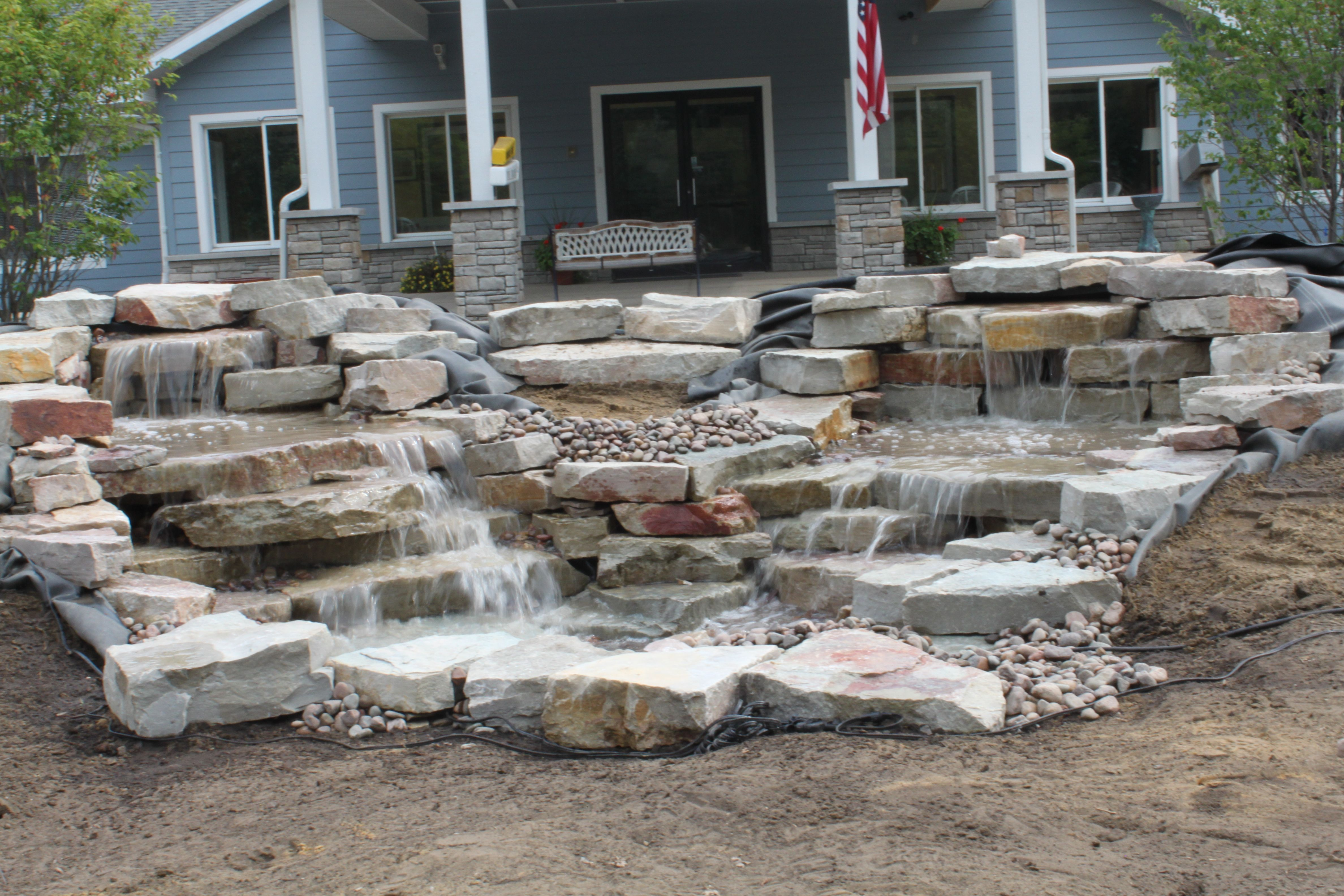 the shiawassee our medium split pondless waterfall with two
