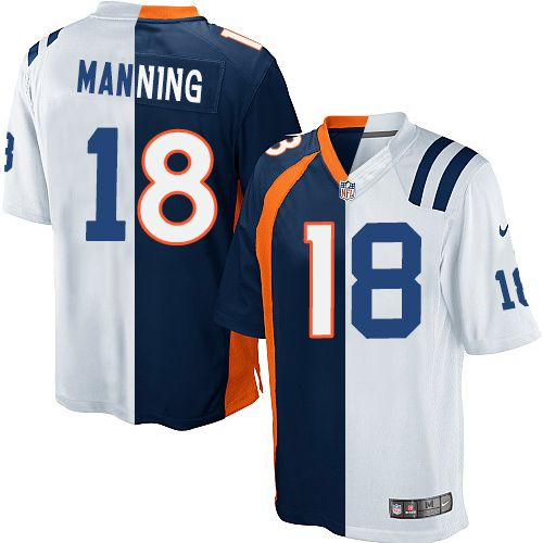 42d5229d9fb Youth Nike Indianapolis Colts  18 Peyton Manning Elite White Navy Blue  Split Fashion NFL Jersey