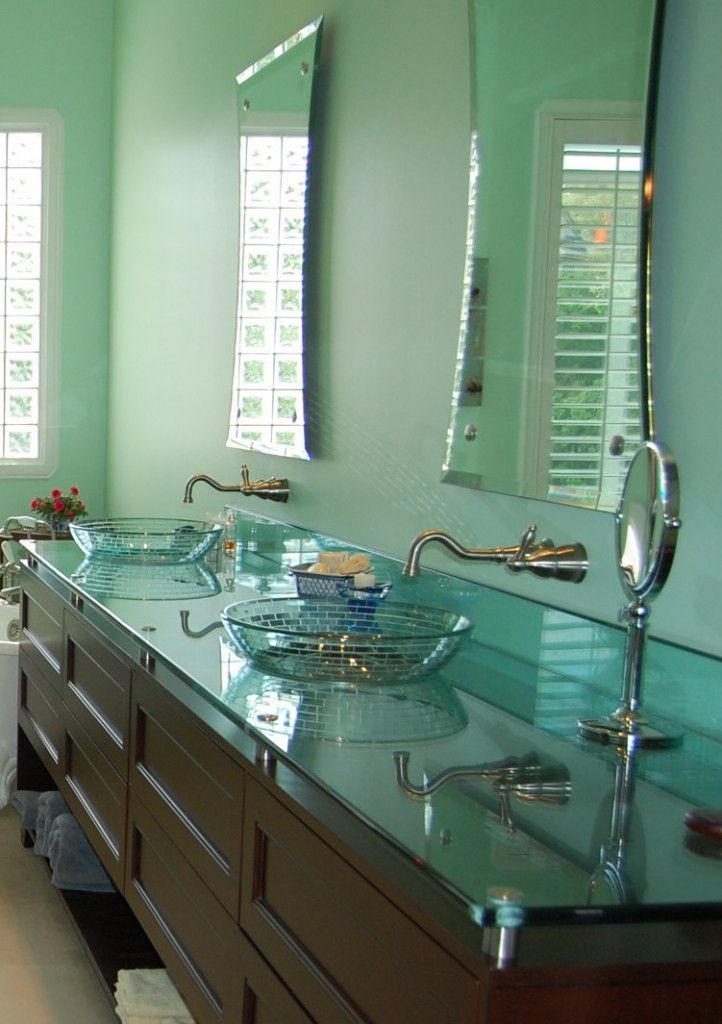 20 Bathrooms With Glass Countertop Designs Glass Countertops