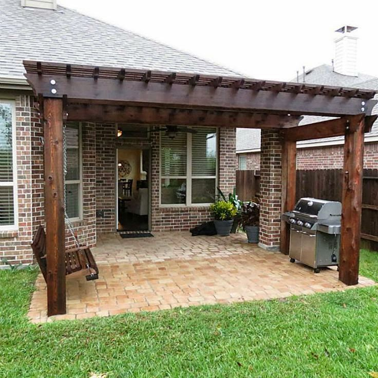 Pergola off of an existing covered porch   Backyard patio on Covered Back Porch Ideas id=69517