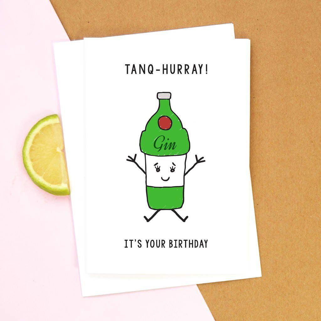 Funny Gin Birthday Card In 2021 Funny Birthday Cards Sister Birthday Card Funny Funny Valentines Cards