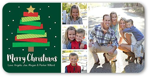 Modern Kraft Tree Christmas Card, Rounded Corners, Green Products
