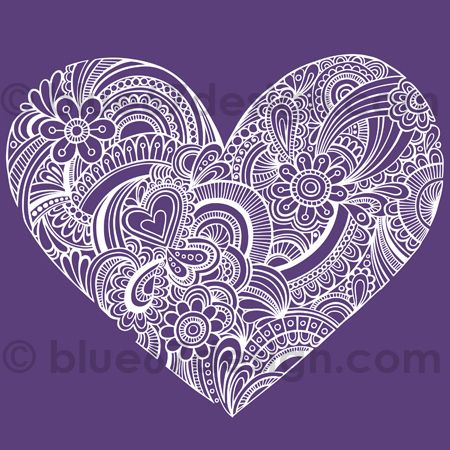 Hand-Drawn Psychedelic Paisley Henna Tattoo Heart Doodle