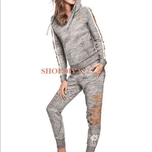 75a8fb79c4795 PINK-Victoria-Secret-Rose-Gold-Bling-Floral-Perfect-Hoodie-Jogger ...