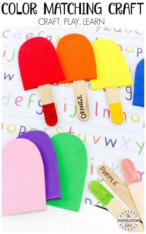 Colour matching popsicle craft activity ice cream theme pinterest kindergarten colors homeschool and kindergarten