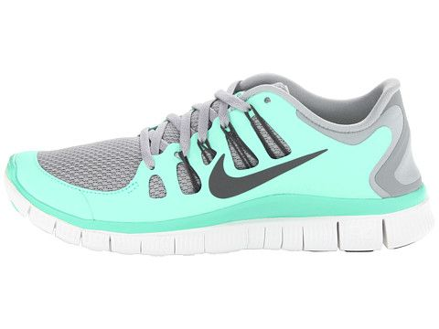 nike free 5.0+ womens silver/charred grey/green glow in the dark