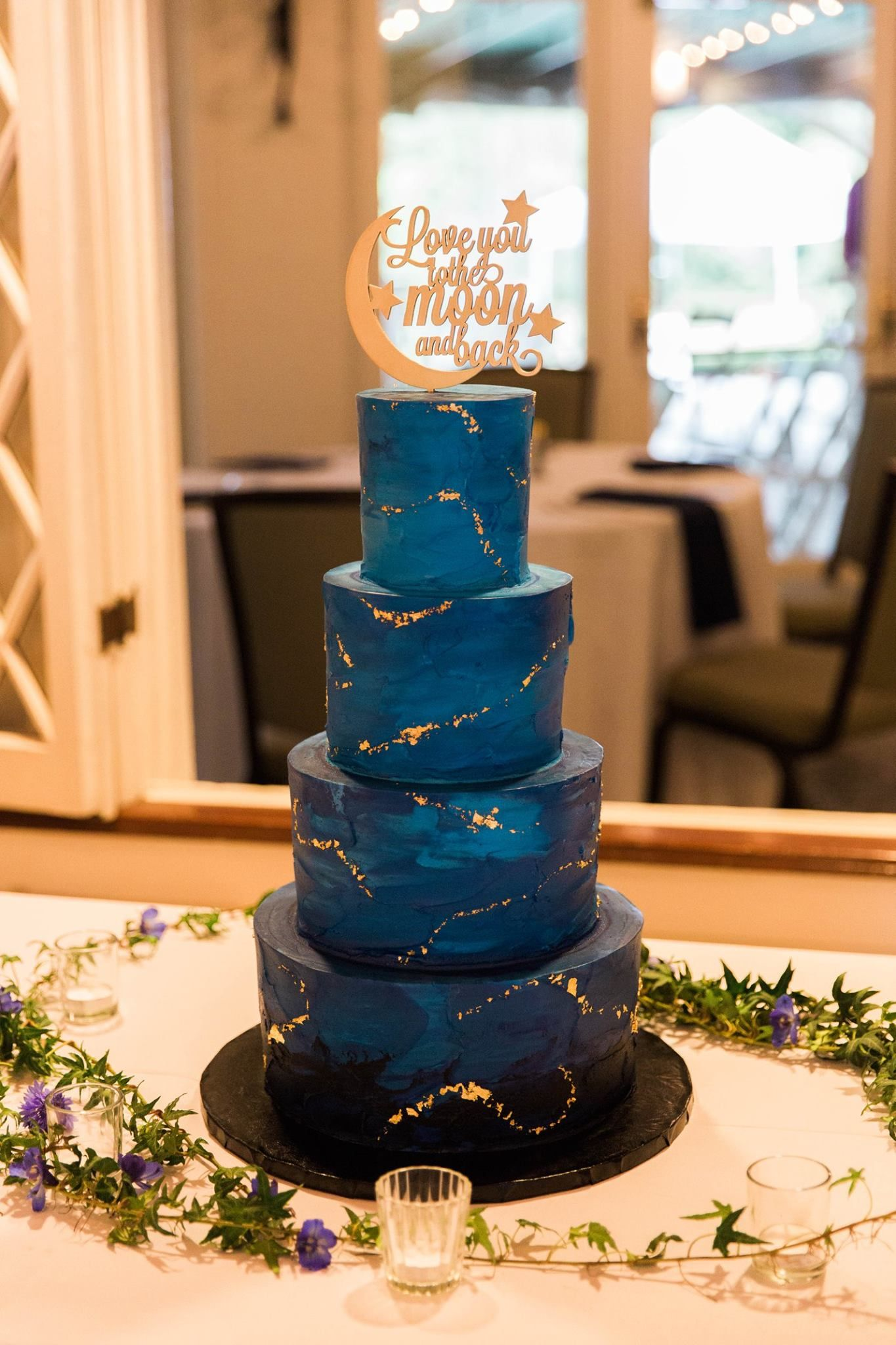 Starry Night I love you to the Moon and back wedding cake | Happily ...