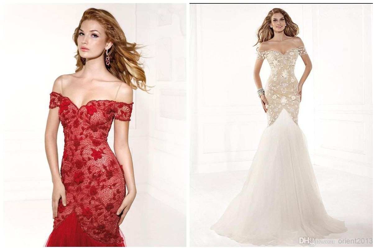 2355b225f6b White Red Designer Lace Backless Cheap Mermaid Ball Evening Dresses ...