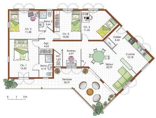 Maison de plain-pied 5 House, Nice houses and Plan design - construire une maison de 200m2