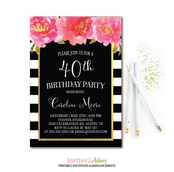 Black& White Stripe Birthday Invitation Black, Pink and Gold Birthday Party Pink Watercolor