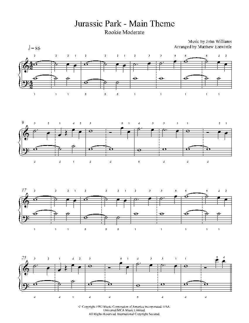 Jurassic Park Theme By John Williams Piano Sheet Music Rookie
