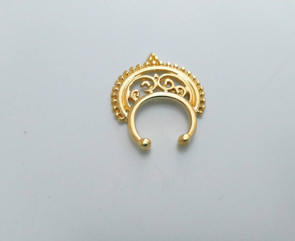 Non piercing nose pin  Tribal Nose ring gold septum ring non piercing hanger clip on