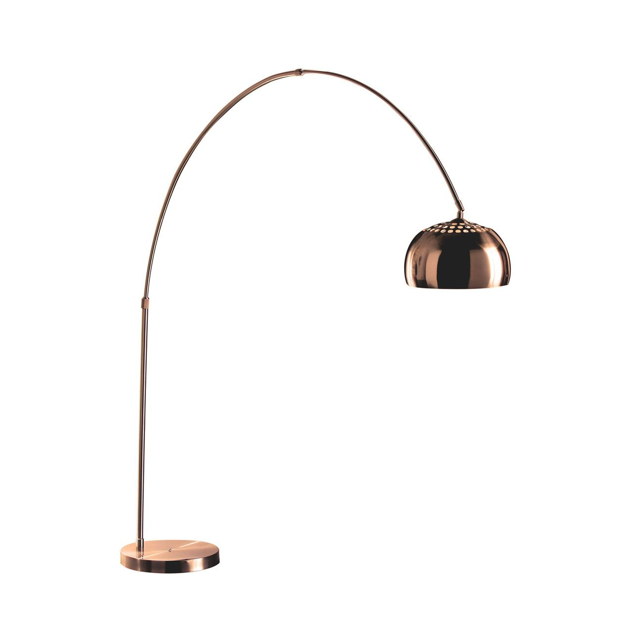Arco Style Copper Floor Standing Drop Light   This Copper Finish Arco Style  Floor Standing Lamp