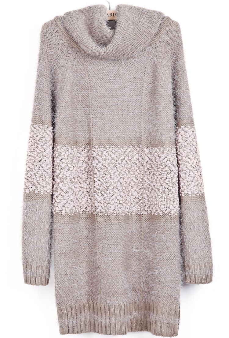 c902057a9ceb2f SheIn offers Khaki High Neck Long Sleeve Contrast Mohair Sweater   more to  fit your fashionable needs.