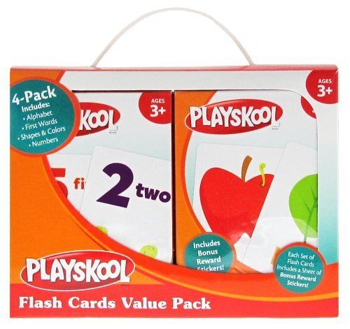 Playskool Flash Cards Value Pack - Alphabet/First Words/Shapes & Colors/Numbers by Playskool. $7.99. Promotes memorization. 4 titles: Alphabet, First Words, Shapes and Colors, and Numbers. Ideal for preschool and primary school ages. Value pack. Great activity. From the Manufacturer                Four of the bestselling flash cards packed in a convenient carry case with handle!  This value pack includes Alphabet, First Words, Shapes & Colors, and Numbers.  Flash c...