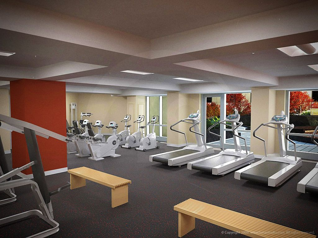 3d architectural rendering and interior design of the Living room gym