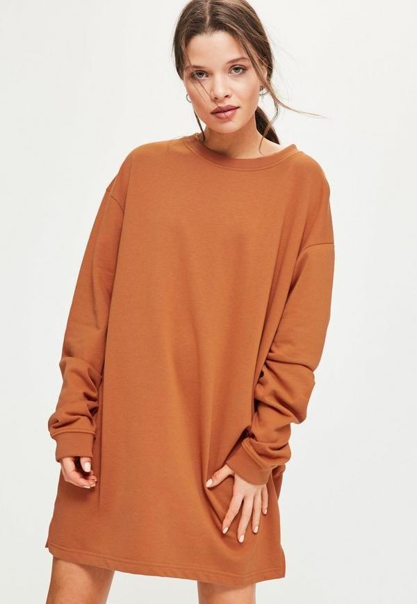 915542285e4 Orange Oversized Sweater Dress - Missguided