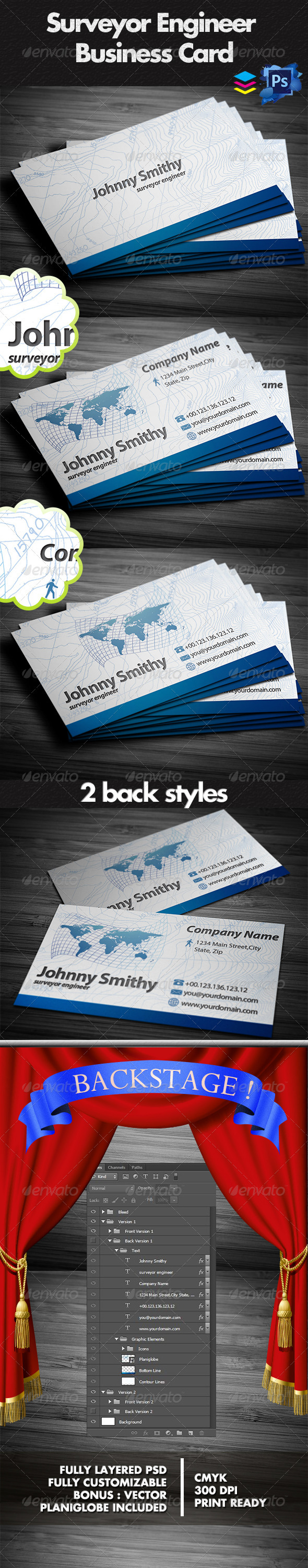 Surveyor business cards graphicriver professional land surveyor surveyor business cards graphicriver professional land surveyor business card summary info fully layered psd files well organize easy customizable and reheart Image collections