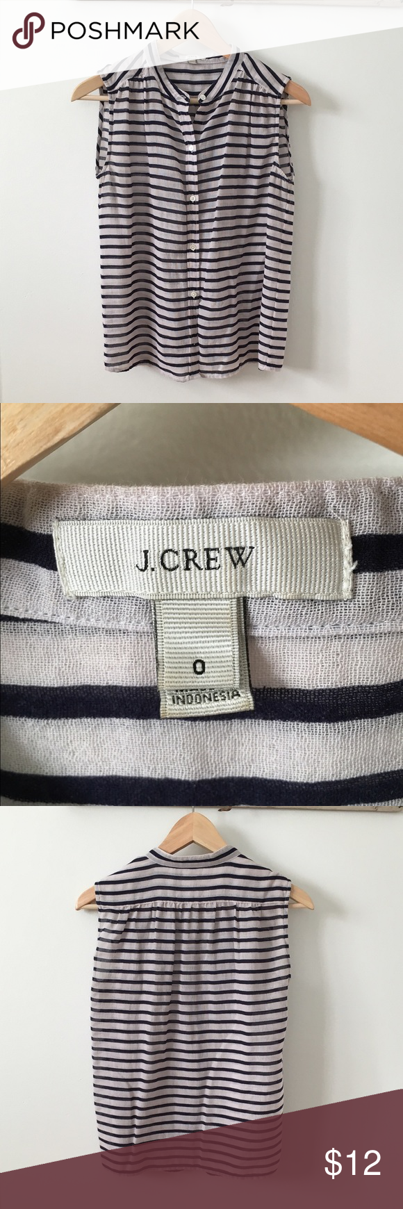 J. Crew sleeveless button up Navy and white stripes! Tops Button Down Shirts