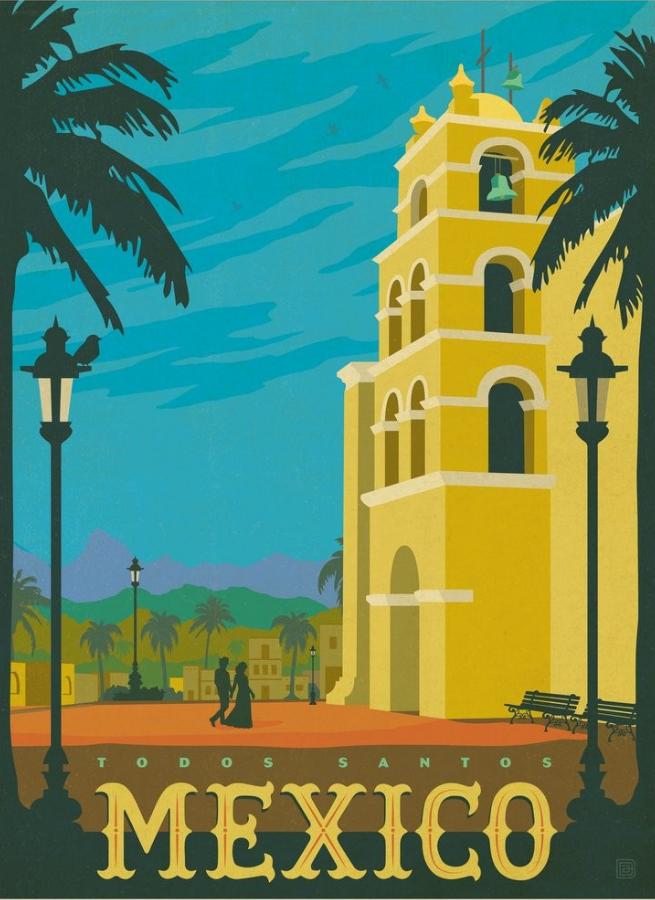 вот, постер ретро путешествия лампа