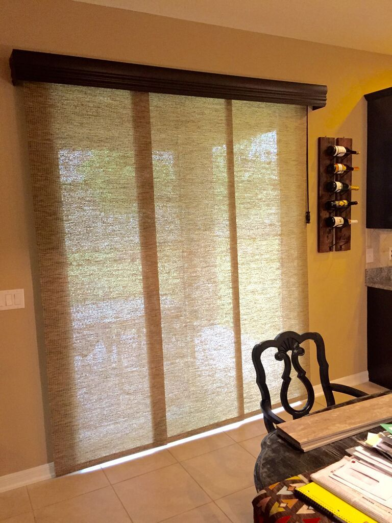 Incroyable Sliding Panels Are A Great Alternative To A Vertical Blind. Cornice And  Wooden Baton Complete The Look. Installation By Budget Blinds Of Clermont