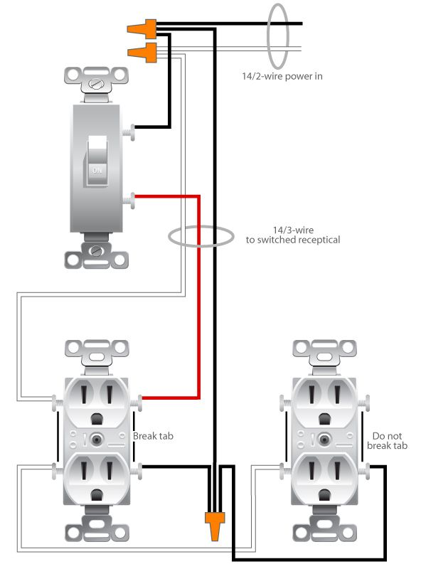 Wiring a Switched Outlet Wiring Diagram : Electrical