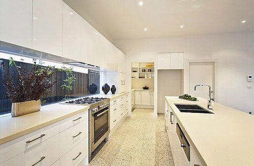 Galley Kitchen With Window Splashback And Wip Kitchen Layout Modern Kitchen Design Best Kitchen Layout