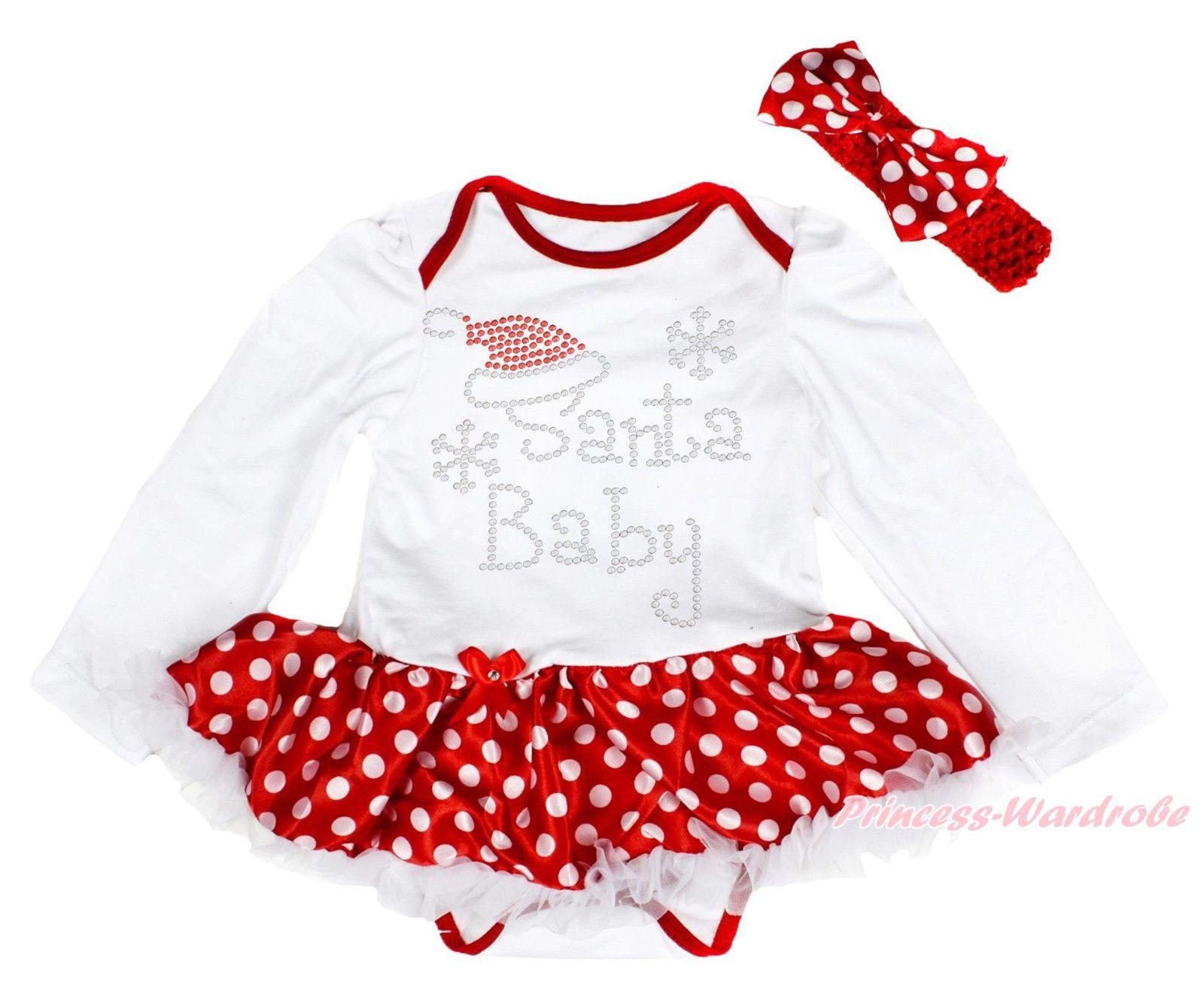 Xmas rhinesotone santa baby ls bodysuit minnie girl skirt dress nb