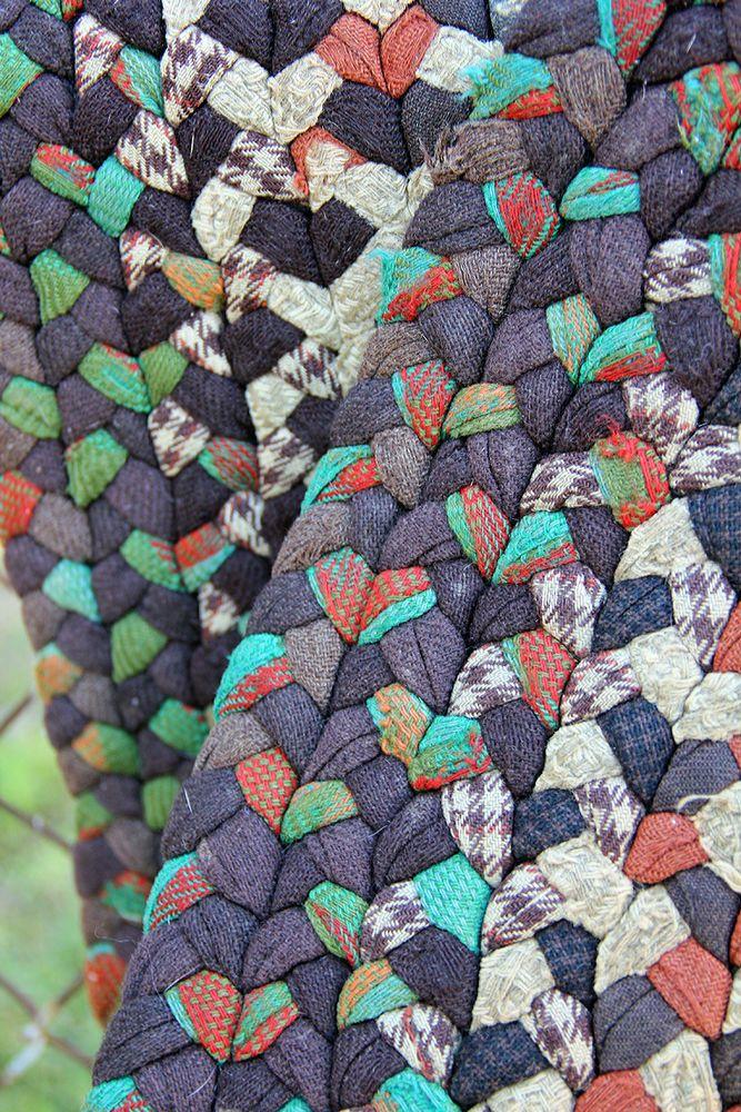 Vintage Antique Handmade Wool Braided Rug Euc