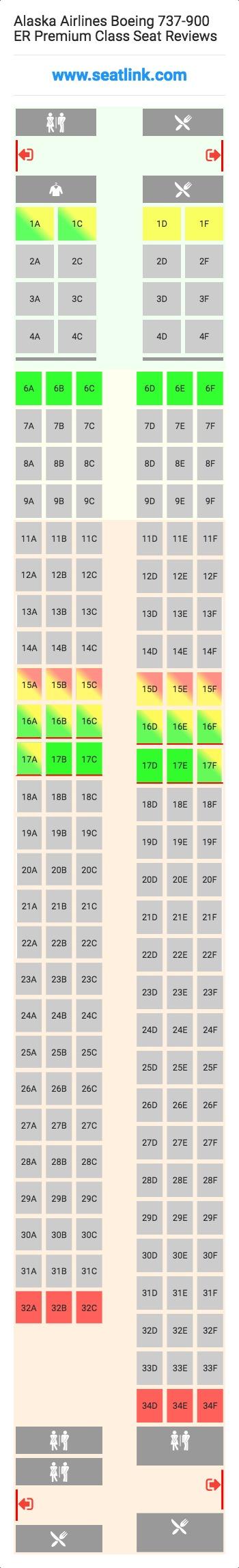 Alaska Airlines Boeing 737 900 Er Premium Class 73j Seat Map Airlines Delta Airlines United Airlines