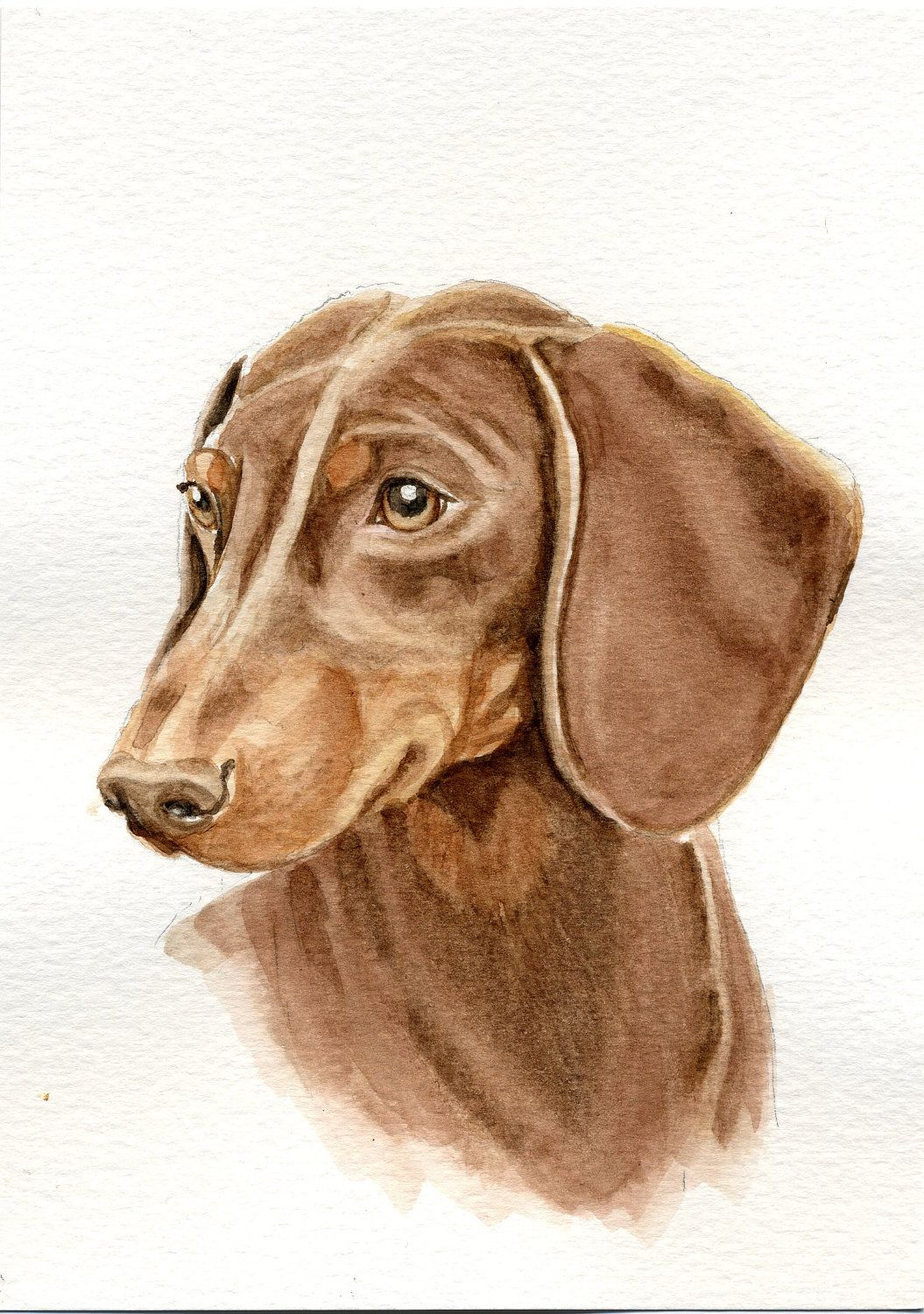 Dachshund Home Decor Red Dachsund Dog Painting 5x7 Print From Original Watercolor