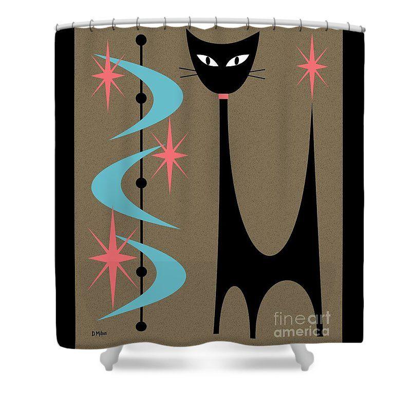 Mid Century Modern Shower Curtain Featuring The Digital Art Atomic