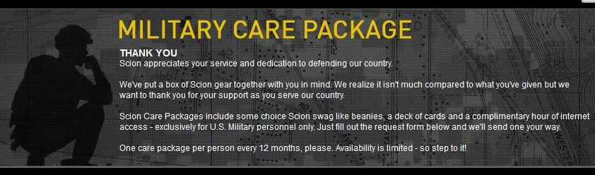 I ordered one of these free care packages for my husband a